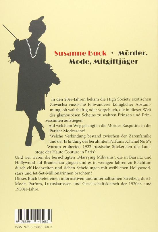 Susanne Buck: Mörder, Mode, Mitgiftjäger. Buchumschlag Rückseite